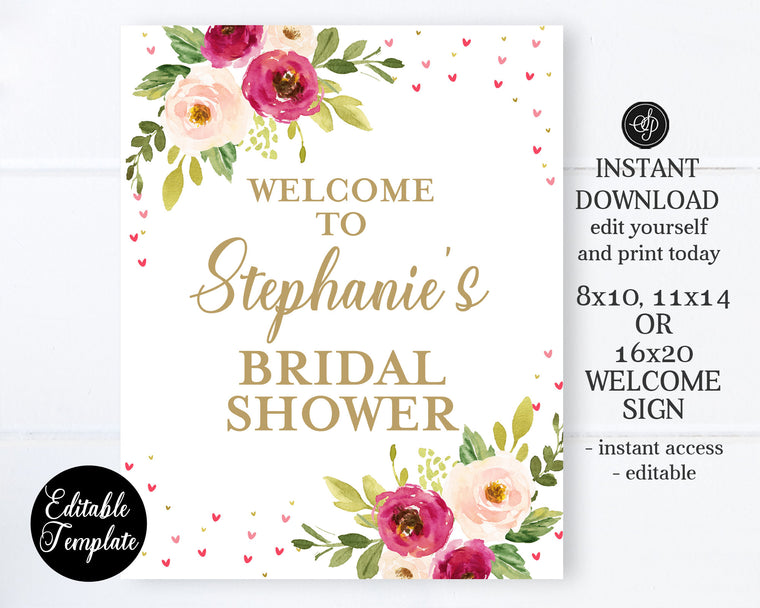 Floral Valentine Typography Bridal Shower Welcome Sign, 8x10, 11x14, 16x20, Editable Template, Templett Baby Shower Welcome Sign, SP0031
