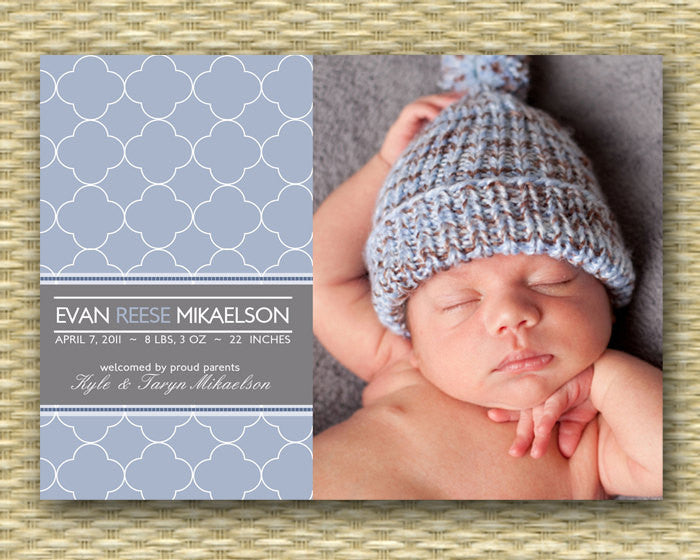 Birth Announcement Boy Birth Announcement Baby Announcement It's a Boy Baby Boy Announcement, ANY COLORS