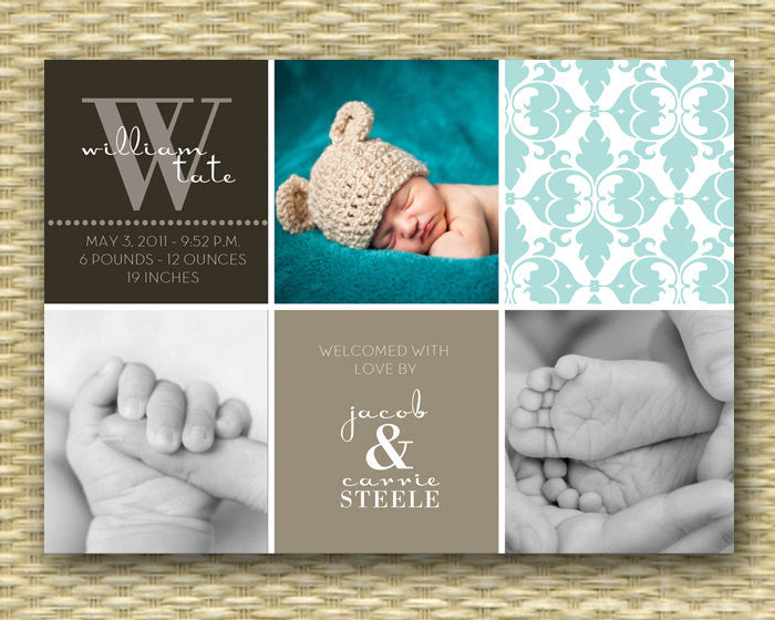 Birth Announcement Baby Announcement Baby Boy Birth Announcement Color Block Baby Boy Custom Photo Card, ANY COLOR, Any Event