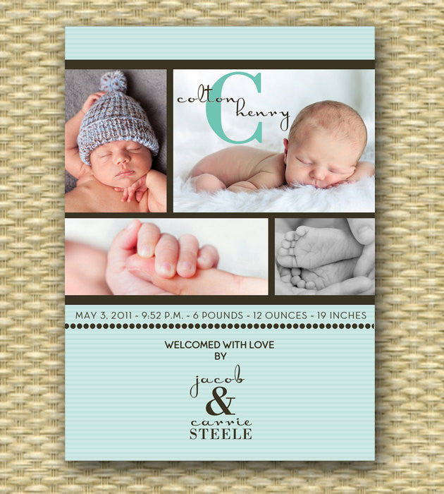 custom birth announcement simple baby boy collage