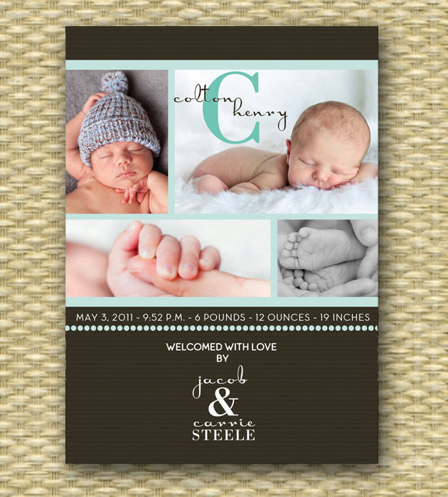 Custom Birth Announcement - Simple Baby Boy Collage