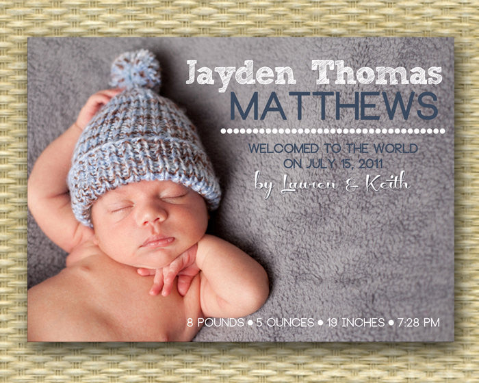 Custom Birth Announcement - Simple and Clean Baby Boy
