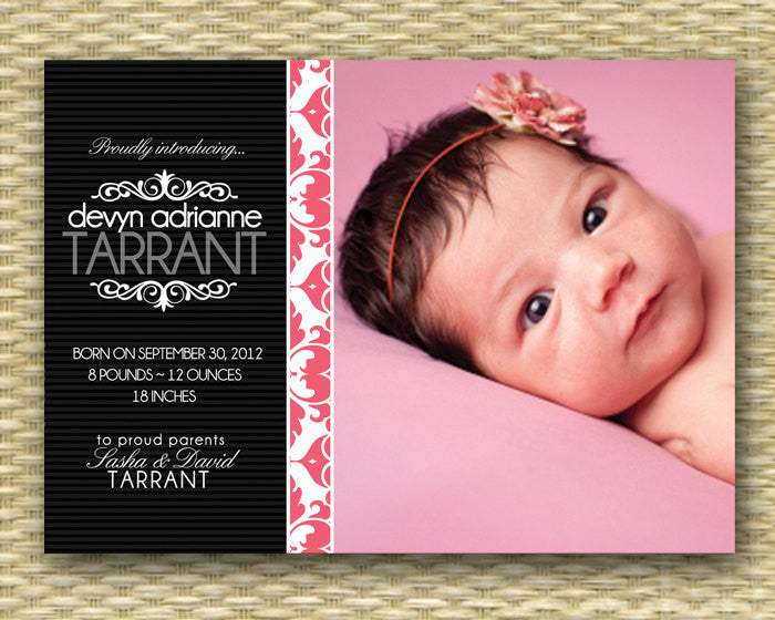 Photo Birth Announcement Baby Girl Announcement Baby Announcement Elegant Damask Lace, Any Colors