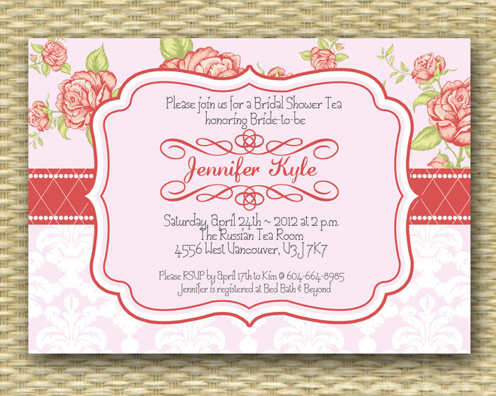 Bridal Shower Invitation - Vintage Rose Pink & Peach - Birthday Invitation