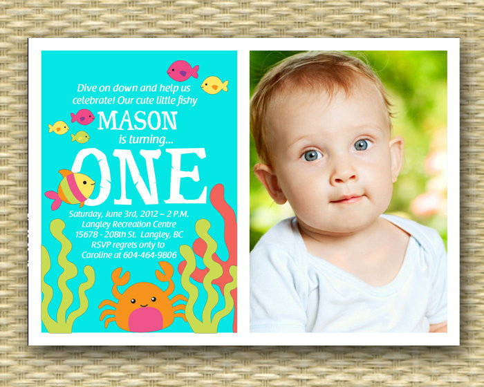 Custom 1st Birthday Invitation, Under the Sea Photo Card -
