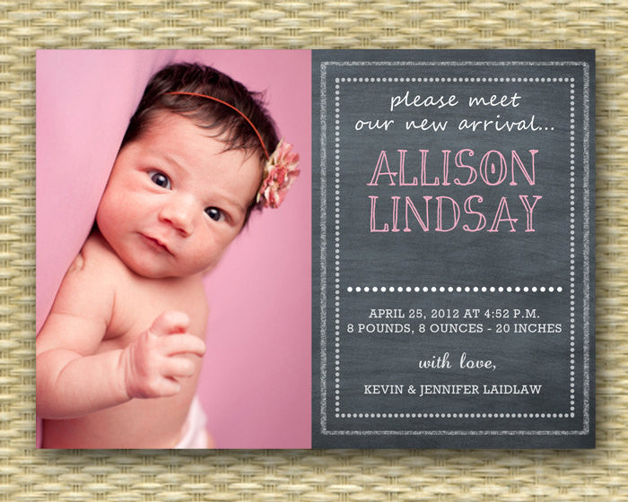 Custom Birth Announcement - Chalkboard Style Baby Girl