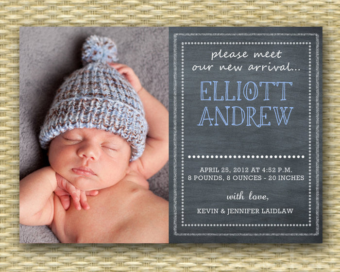 Chalkboard Birth Announcement Baby Boy Birth Announcement Baby Announcement Baby Boy