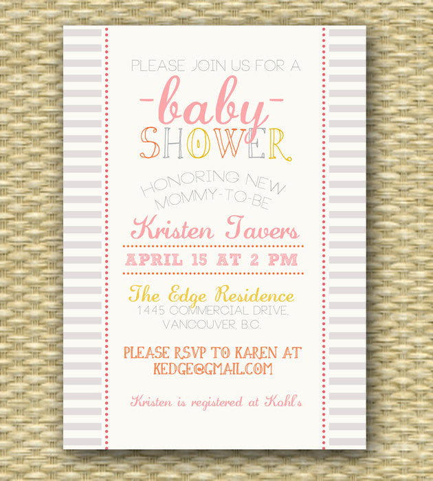 Baby Shower Invitation Baby Girl Shower Gender Neutral Baby Shower Baby Boy Shower Typography - ANY EVENT, Any Color Scheme