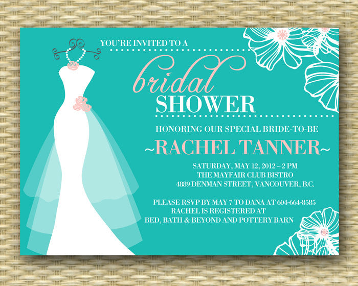 Printable Wedding Dress Bridal Shower Invitation, Dress on Hanger, Wedding Dress, Wedding Shower Invitation - Printable