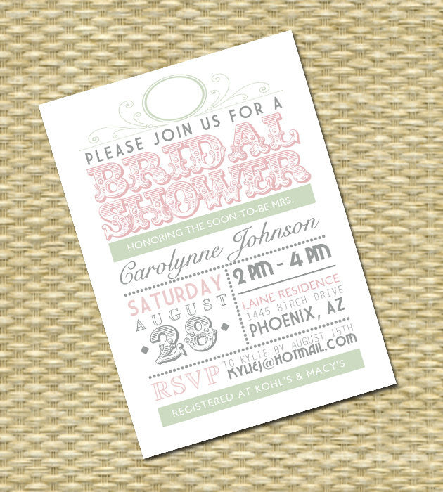 Bridal Shower Invitation - Typography Poster Style - ANY COLORS, Any Event, Couples Shower, Baby Shower Invitation, Pink & Mint