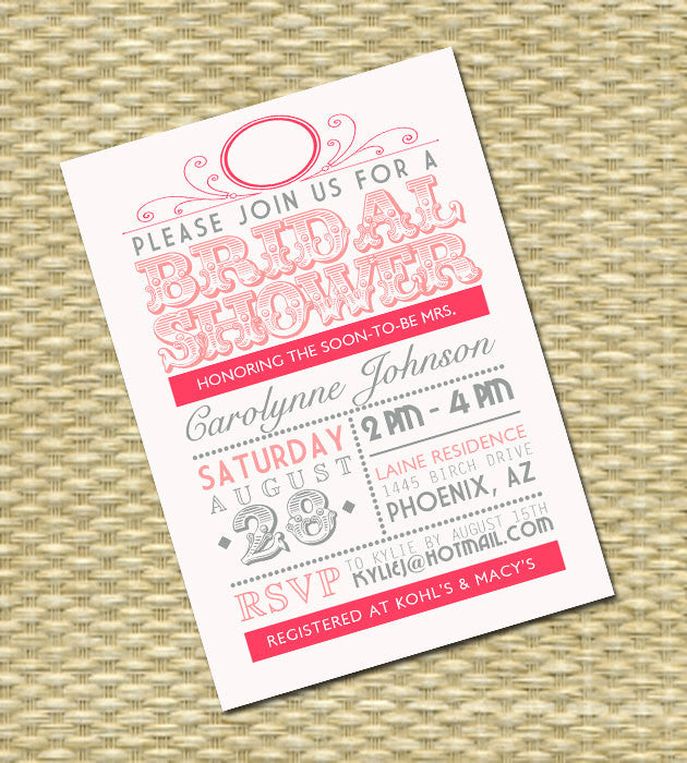 Bridal Shower Invitation Vintage Typography Poster Style Shabby Chic Rustic Bridal Shower Bridal Tea Bridal Brunch, Any Color, Any Event