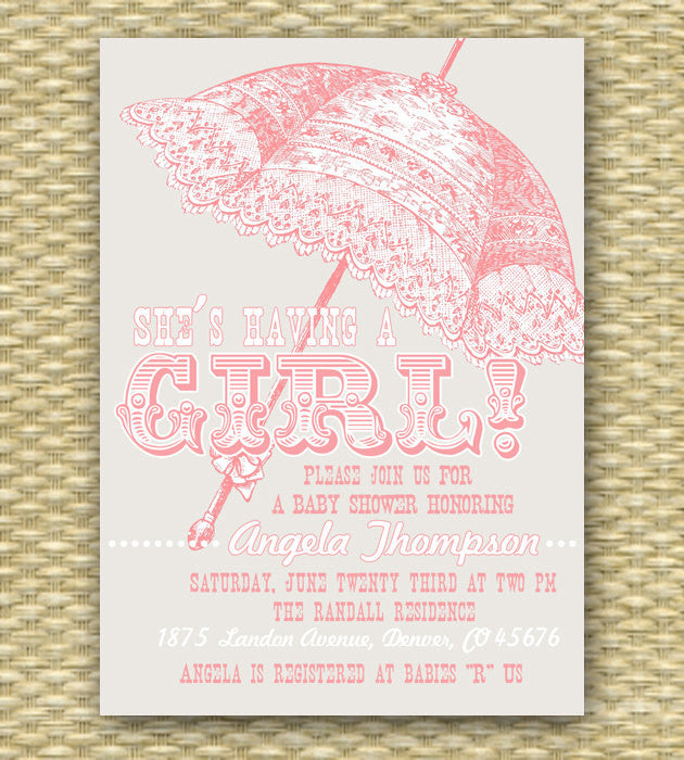 Printable Baby Shower Invitation Vintage Parasol Baby Girl Sip and