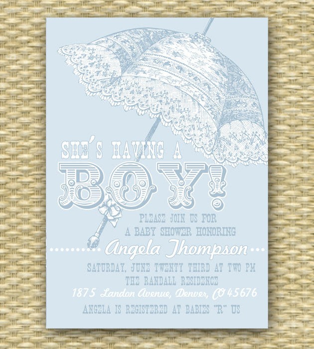 Baby Boy Shower Invitation Vintage Parasol Baby Shower Invite Blue White, Any Colors, Baby Girl Gender Neutral, ANY EVENT