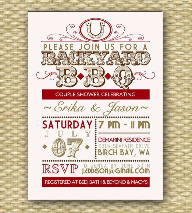Country Western BBQ Couples Shower Invitation Bridal Shower Wedding Shower Summer BBQ Party Invitation Typography Poster Red Gold, Any Event