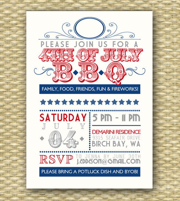 Vintage July 4th BBQ Invitation Independence Day 4th of July BBQ Party Invitation Typography Poster Style Wedding Shower BBQ Any Event