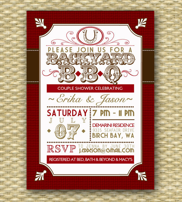 Backyard BBQ Wedding Shower Invitation, Rustic Country Western Couples Shower I Do BBQ Engagement Party Rehearsal Dinner, Any Event