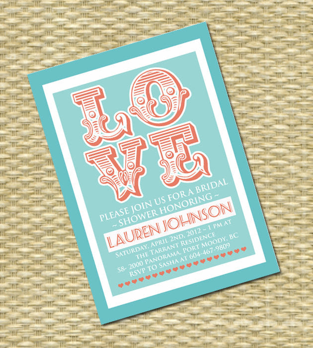 Vintage LOVE Bridal Shower Invitation Retro Style Wedding Shower Couples Shower Bridal Brunch Bridal Tea, ANY EVENT, Any Colors