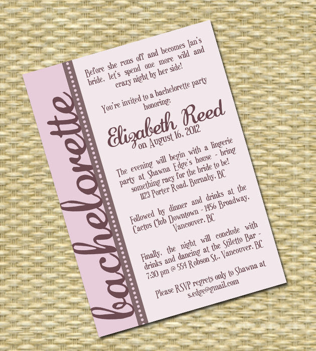 bachelorette party invitation printable custom any colors