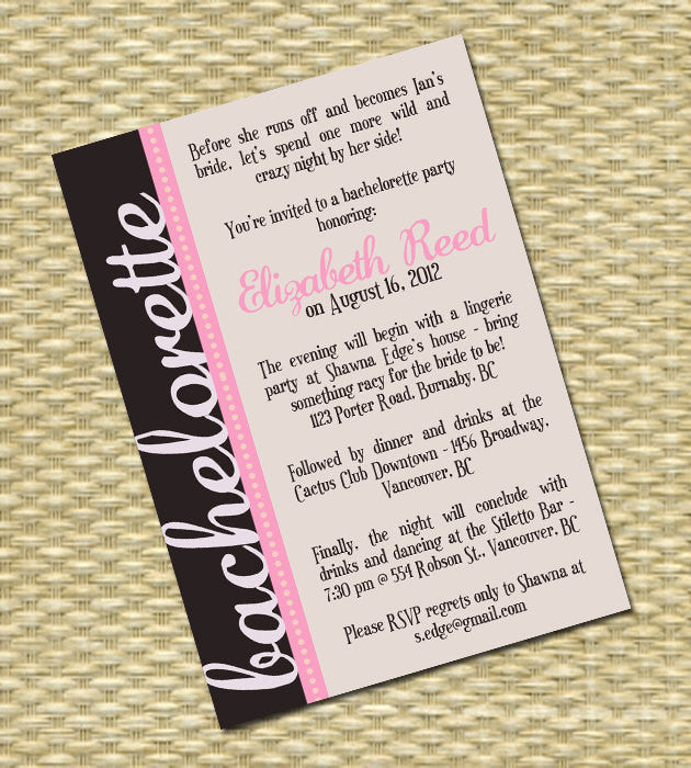 Bachelorette Party Invitation, Printable, Custom - ANY COLORS
