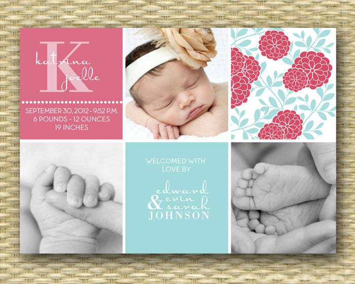 Custom Baby Birth Announcement - Blocks Floral Girl