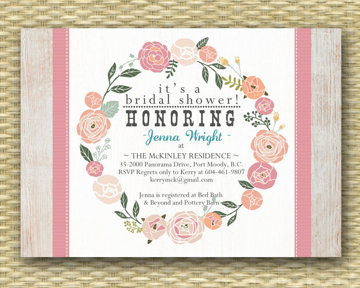 rustic country bridal shower invitation country western floral wreath floral wedding shower