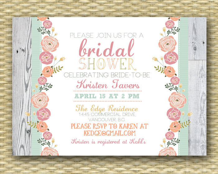 Rustic Bridal Shower Invitation, Garden Floral, Printable Invite
