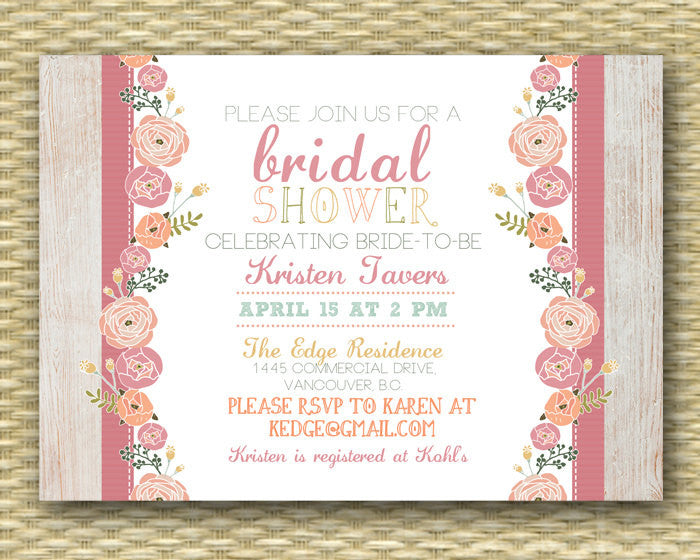 Floral Bridal Shower Invitation Pink Coral Peach Mint Rustic Bridal Shower Shabby Chic Bridal Brunch, ANY EVENT, Any Colors