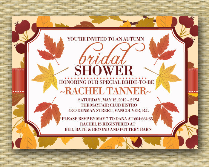 Fall Bridal Shower Invitation Wedding Shower Invitation Fall Leaves Autumn Leaves ANY EVENT Couples Shower Rehearsal Dinner Engagement Party