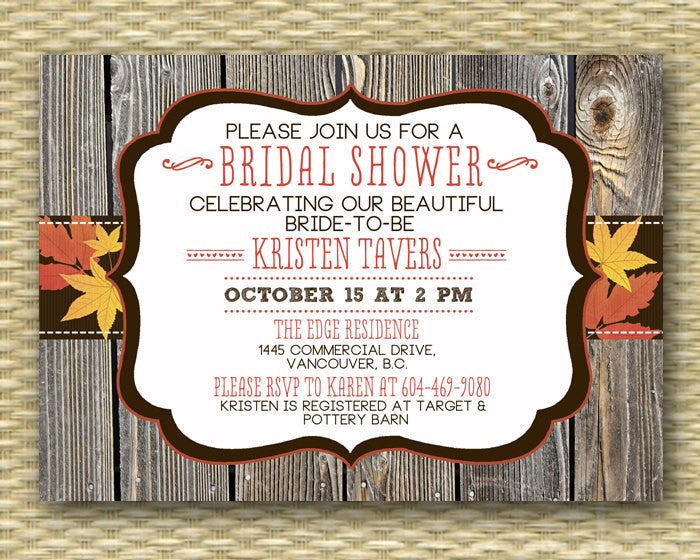 Fall Bridal Shower Invitation Country Western Style Rustic Wood Fall Autumn Leaves Brown Orange Red Grey Couples Shower, ANY EVENT