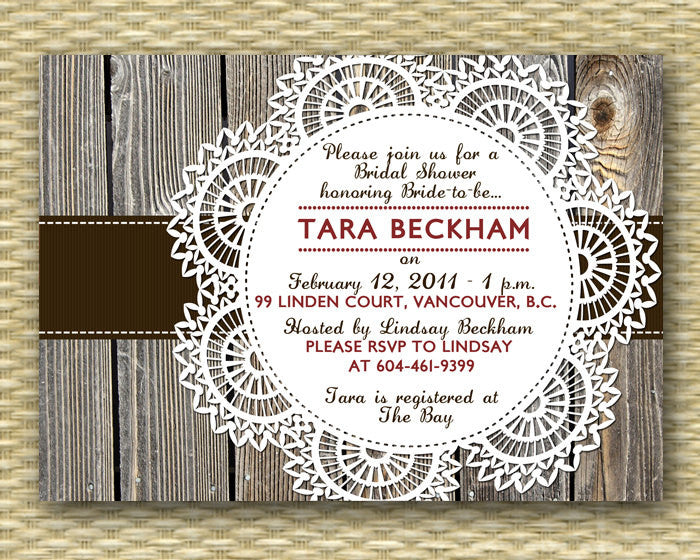 Fall Bridal Shower Invitation Rustic Couples Shower Invite I Do BBQ Invitation Rustic Wood Lace Doily, Any Event, ANY COLORS