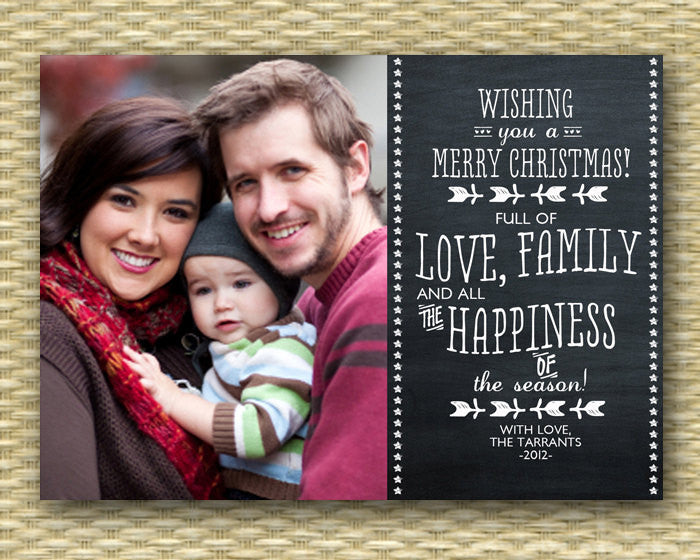 Christmas Photo Card - Customized, DIY Printable, Holiday - Chalkboard Landscape