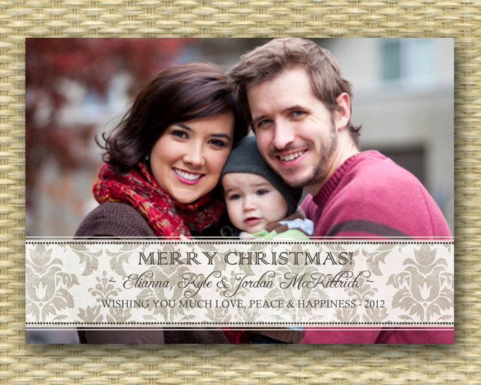 Christmas Photo Card - Customized, DIY Printable, Holiday - Damask Ribbon
