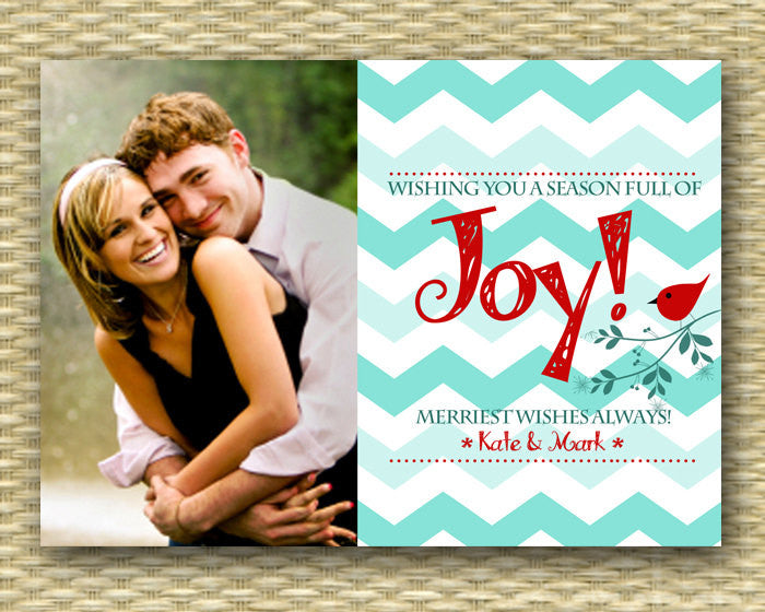 Christmas Photo Card - Customized, DIY Printable, Holiday - Chevron Joy Cardinal