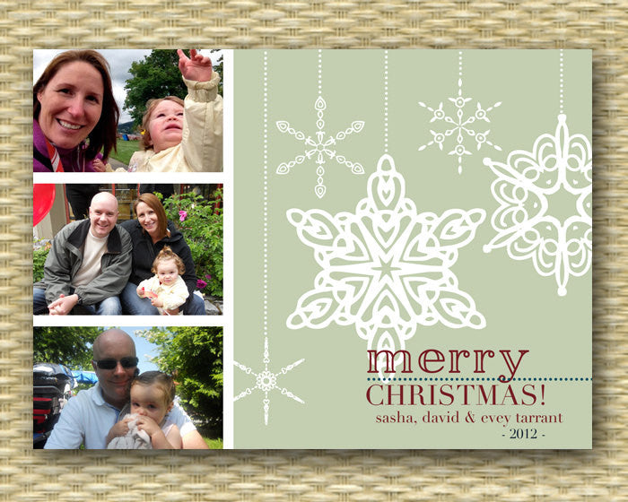 Christmas Photo Card - Customized, DIY Printable, Holiday - Snowflakes 3 Photo