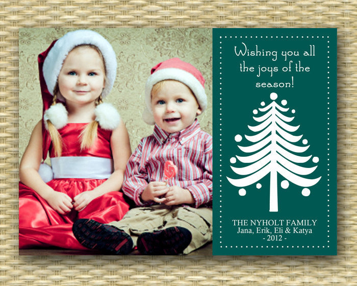 Christmas Photo Card - Customized, DIY Printable, Holiday - Tree