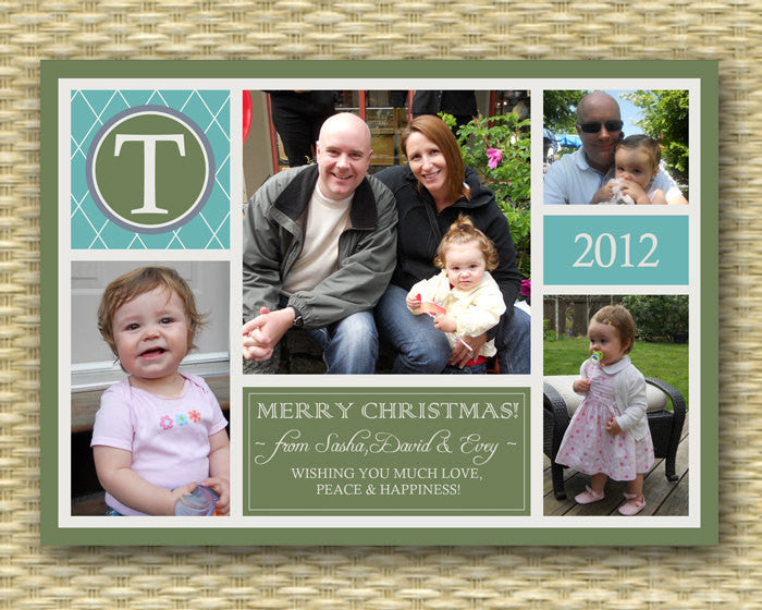 Christmas Photo Card - Customized, DIY Printable, Holiday - Monogram Collage - 4 photo