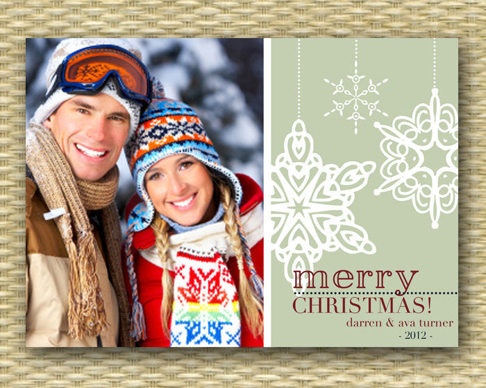 Christmas Photo Card - Customized, DIY Printable, Holiday - Snowflakes 1 Photo