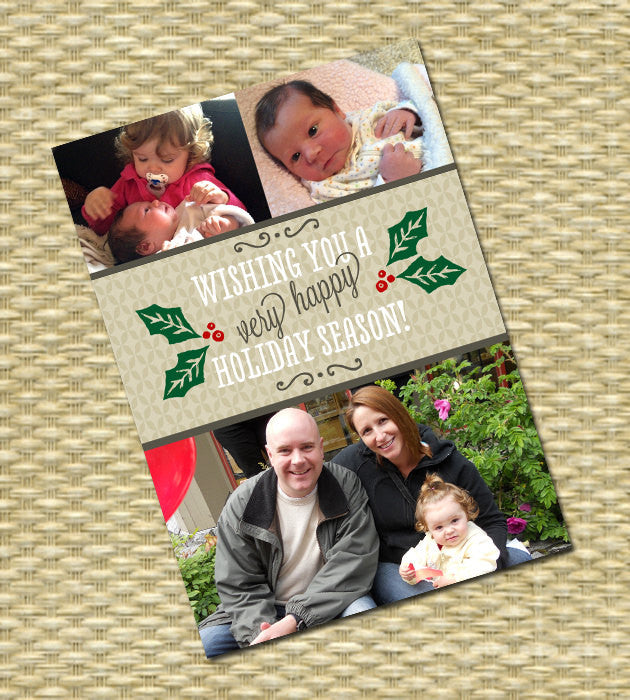 Christmas Photo Card - Customized, DIY Printable - Whimsical Holly