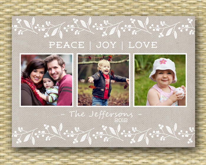 Christmas Photo Card - Customized, DIY Printable, Holiday - Burlap & Berries