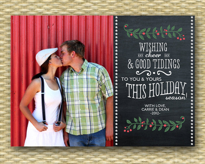 Christmas Photo Card - Customized, DIY Printable, Holiday - Chalkboard Landscape2