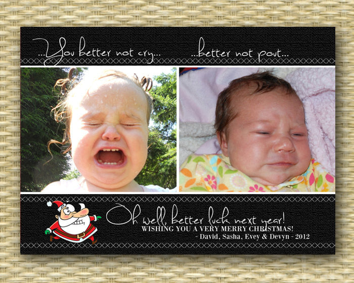 Christmas Photo Card - Customized, DIY Printable, Holiday - Better Not Pout