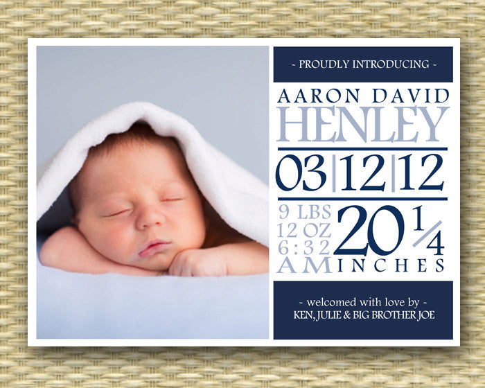 Custom Birth Announcement - Subway Art, Typography Baby Boy
