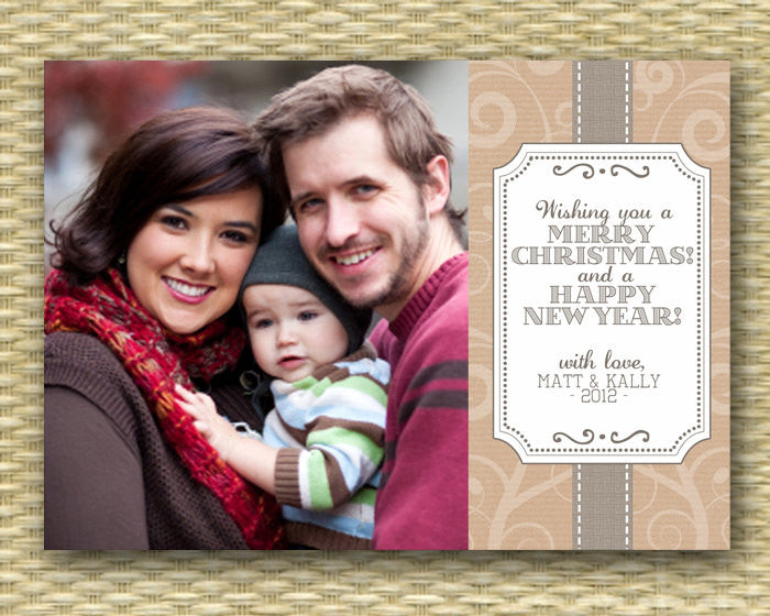 Christmas Photo Card - Customized, DIY Printable, Holiday - Country Kraft Tag