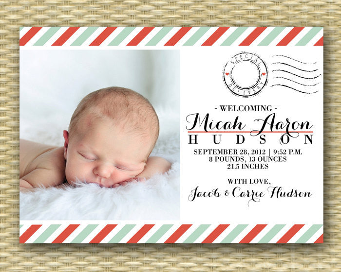 Custom Birth Announcement - Postcard Style Baby, Special Delivery