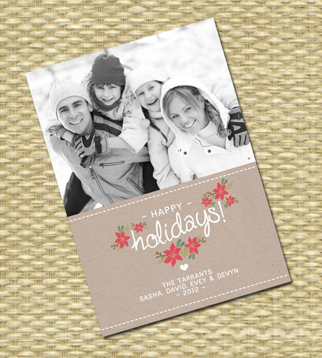 Christmas Photo Card - Customized, DIY Printable, Holiday - Rustic Kraft Floral