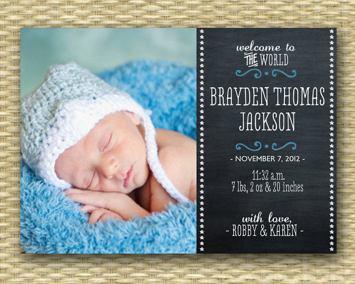 Custom Birth Announcement - Chalkboard2 Style Baby Boy