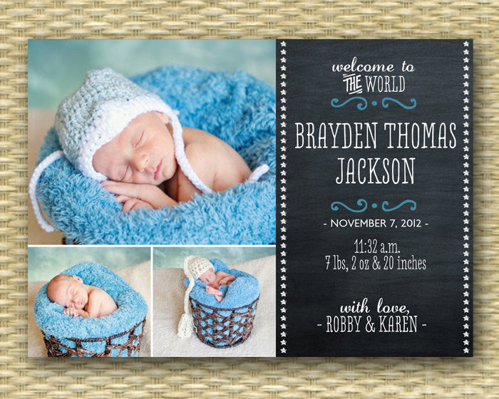 Chalkboard Birth Announcement Baby Announcement Baby Boy Birth Announcement Baby Girl Announcement 3 Photos Chalkboard Baby, Any Colors