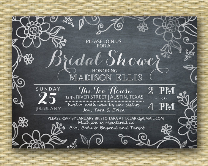 Bridal Shower Invitation - Chalkboard Floral Doodle - Birthday Invitation, ANY EVENT, Baby Shower Invitation