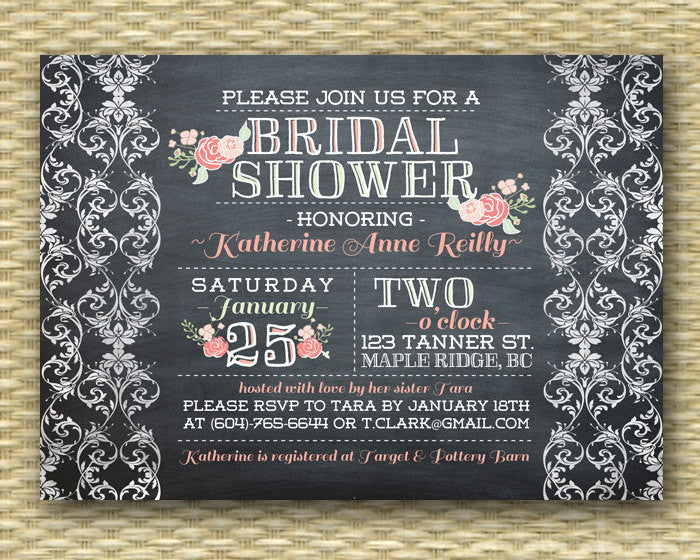 Shabby Chic Bridal Shower Invitation Vintage Chalkboard Black White Coral Pink Flowers Lace Rustic Bridal Shower Bridal Brunch, ANY EVENT