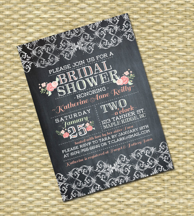 Chalkboard Bridal Shower Invitation, Garden Blooms Flower & Lace Typography Printable Invites